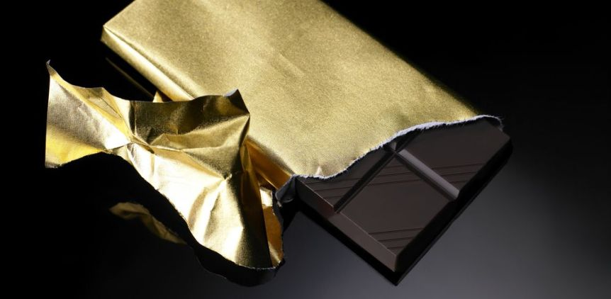 Chocolate skincare with gold